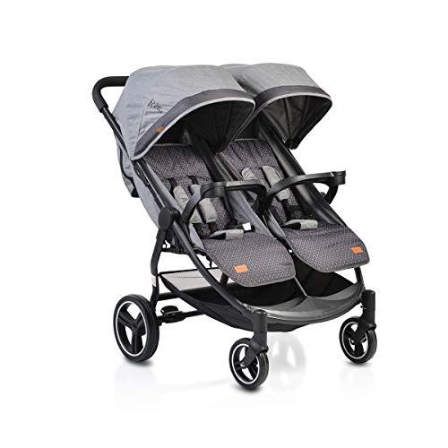 Moni Zwillingskinderwagen Rome klappbar schwenkbare Vorderräder verstellbar, Farbe:grau