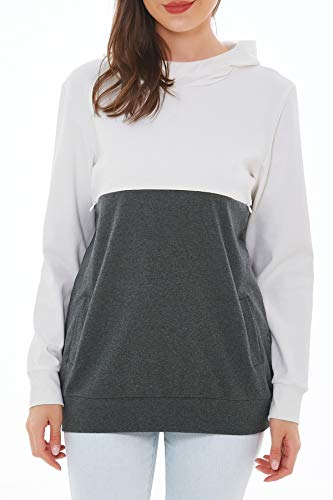 Smallshow Stillpullover Hoodie Damen Langarm Stillen Shirt Patchwork Invisible Zipper Kapuzenpullover...