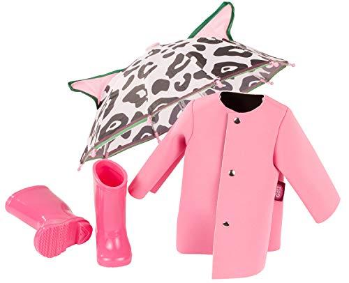 Götz 3403185 Puppen-Set Pink Rain - Puppenkleidung für Babypuppen Gr. M von 42 - 46 cm und Stehpuppen Gr. XL...