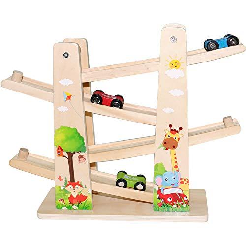Baobë Holzspielzeug Kinder Kugelbahn Spielzeug Auto Rennbahn Holz Spielzeug mit 4 Fahrzeuge Auto...