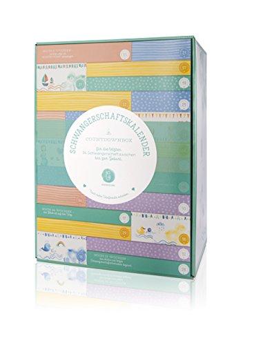 Erstausstattungs-Schwangerschaftskalender/Countdownbox mit Geschenken für 24 Schwangerschaftswochen