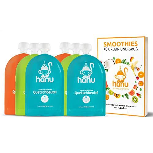 Hanu® wiederverwendbare Quetschies (6er Set) mit Smoothie Rezeptbuch - BPA & PVC freie Quetschbeutel...