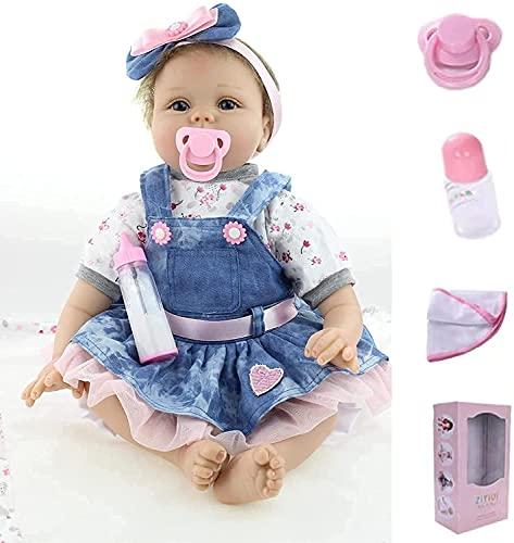 ZIYIUI Reborn Baby Mädchen 22zoll/55cm Babypuppen Reborn Girl Toddler Silikon Puppen Baby Im Jeansrock...
