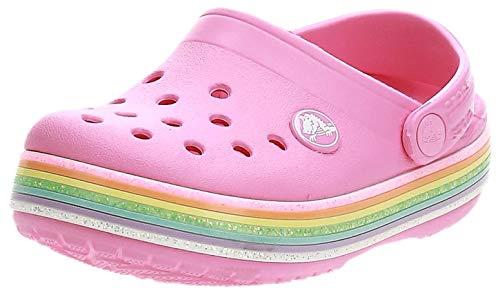 crocs Unisex-Kinder Crocband Rainbow Glitter Kids Clogs, Pink (Pink Lemonade 669), 25/26 EU