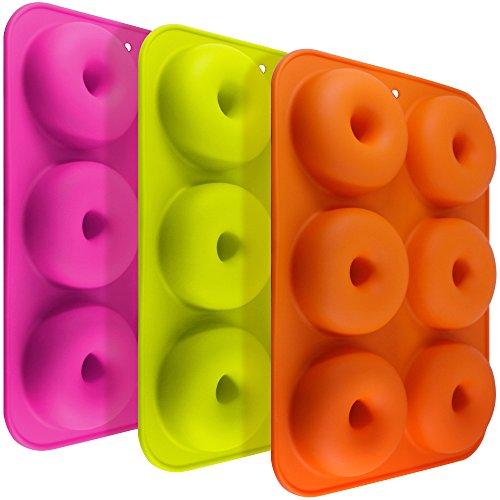 FineGood FG molds_3 3 Pack Silikon Donut Formen, 6 Hohlraum Antihaft-Safe Backblech Maker Pan...