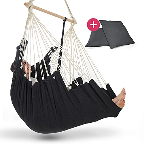 NearDistance Hängesessel - perfekt zum Abschalten, Entspannen & Wohlfühlen - mit Fußablage & Kissen -...