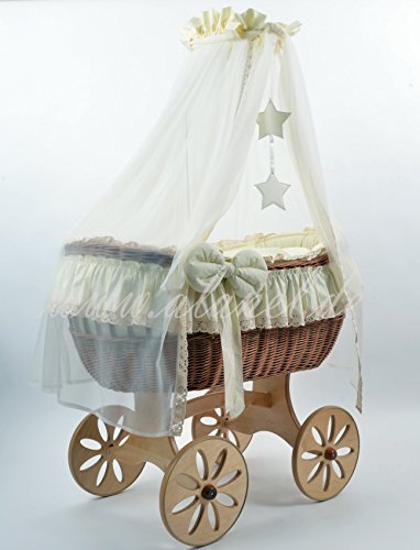 NEW OPHELIA STAR SPOKE WHEELS ANTIQUE CREAM Stubenwagen Bollerwagen Wicker Crib Culla von ALANEL