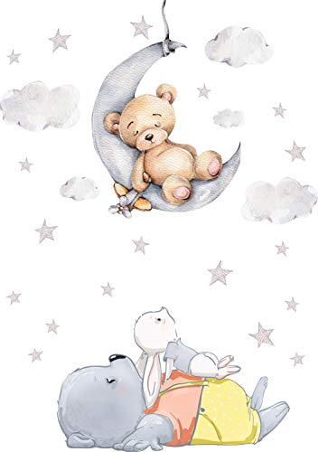 Szeridan D308 40 x 60 cm Teddybär auf dem Mond Kaninchen Wolken Sterne Tiere Himmel Wandtattoo Babyzimmer...