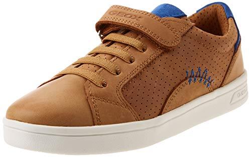 Geox J DJROCK Boy E Sneaker, Cognac/ROYAL, 36 EU