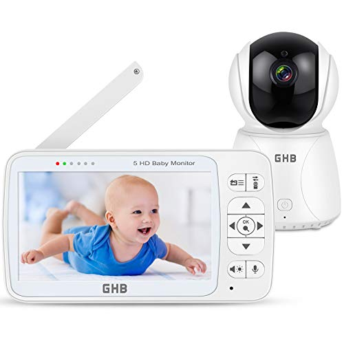 Babyphone mit Kamera 5 Zoll Babyphone HD 720P Bildschirm 350 ° Weitwinkel ECO Gegensprechen Nachtsicht...