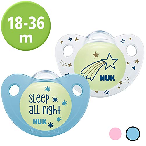 Nuk Trendline Night & Day Schnuller mit Leuchteffekt, 18-36 Monate, Silikon, BPA-frei, Blau, 2 Stück