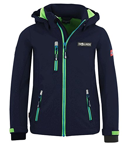 Trollkids Kinder Softshell Jacke Preikestolen, Marineblau/Hellgrün/Mittelblau, Größe 110