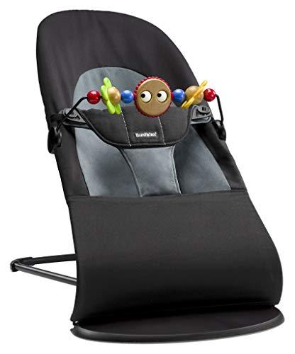 BABYBJÖRN Babywippe Balance Soft, Cotton, Schwarz/Dunkelgrau inkl. Spielzeug für Babywippe, Fröhliche Augen