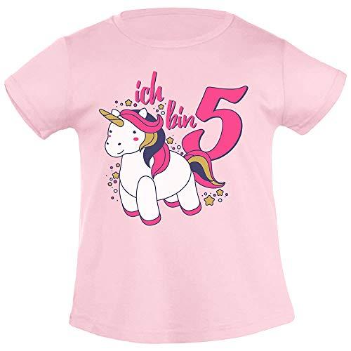 Ich Bin Fünf Einhorn Geburtstags Mädchen T-Shirt 106/116 (5-6J) Rosa