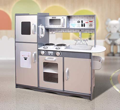 MCC® Spielküche aus Holz für Mädchen und Jungen, wunderschönes Design, Grau / Silber, Unisex