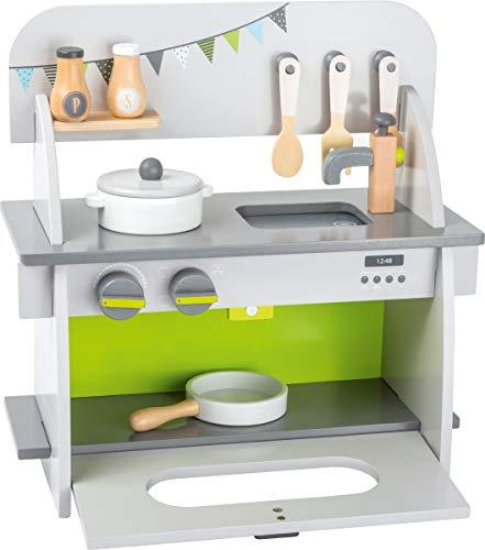 small foot 11158 Kinderküche 'Kompakt' aus Holz, mit Backofen, Drehknöpfen, Topf, Pfanne und Küchenhelfer,...