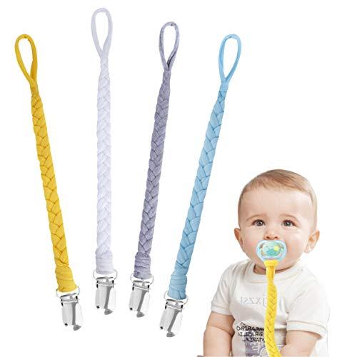Schnullerkette Baumwolle Schnullerband Baby Schnullerketten für Neugeboren Mädchen und Jungs Lätzchen...