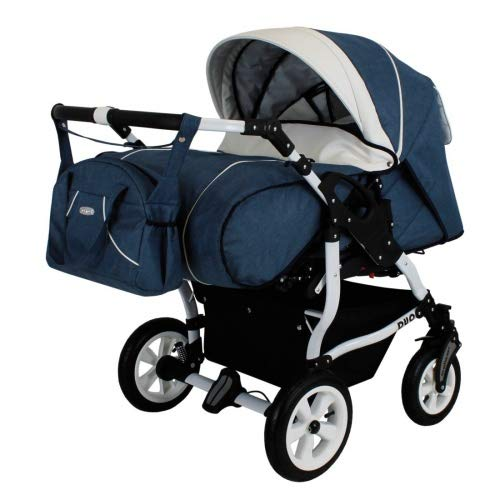 Adbor Duo Spezial Zwillingskinderwagen, Zwillingswagen, Zwillingsbuggy Farbe D-8 blau/weiss