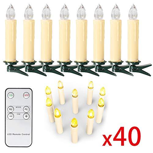 OZAVO 40er Weihnachtskerzen LED Kabellos Kerzen, Rote Weihnachten Kerzen Weihnachtsbeleuchtung mit...