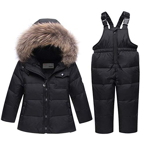 Kinder Daunenjacke Schneeanzug mit Künstliches Fell Kaputze Bekleidungsset Mädchen Jungen Verdickte...