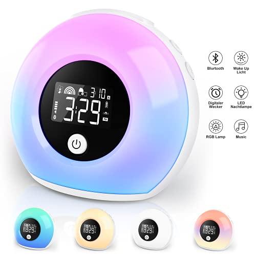 Wake Up Light Lichtwecker mit Bluetooth-Lautsprecher ,Wecker Kinder mit Nachtlampe Reisewecker,Wecker mit...