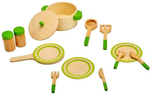 Idena 4100075 - Kleine Küchenmeister Geschirrset aus Holz mit viel Zubehör, für Spielküche und...