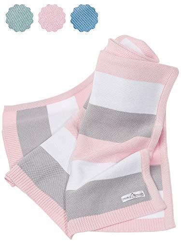 Babydecke aus 100% Bio Baumwolle - kuschelige Strickdecke ideal als Baby Decke, Erstlingsdecke, Wolldecke,...