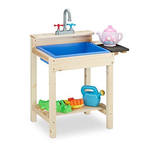 Relaxdays Matschküche, Outdoor, Spülbecken mit Wasserhahn, Kinder Sandspieltisch, Holz, HxBxT: 77 x 54 x 37...