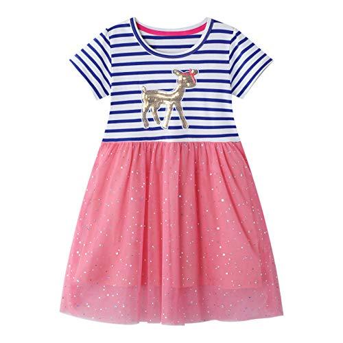 FILOWA Mädchen Kleider Kinder Kleid Pferd Pailletten Rosa Rot Sommer Kurzarm Blau Streifen Mesh Baumwolle...