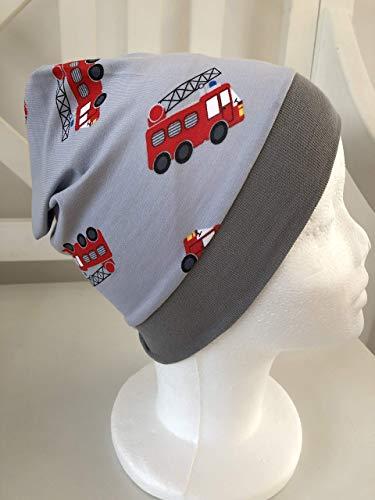 Beanie Kinder Feuerwehr Kindermütze Jungen grau Mütze