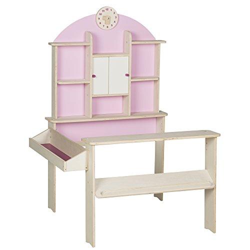 roba 480022 Kaufladen, Kinder Kaufmannsladen, Holz, Verkaufsstand mit Seitentheke, Uhr, Rückwand und weißen...