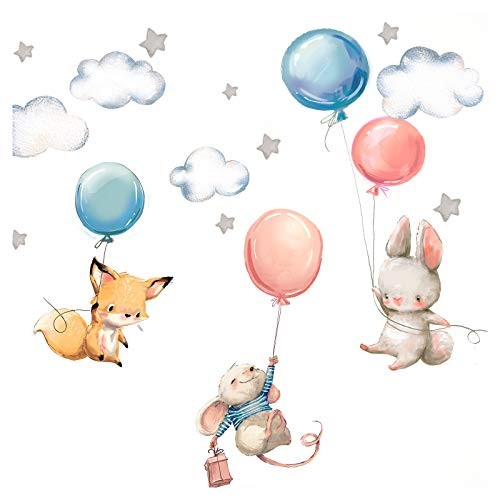 Little Deco Wandtattoo Babyzimmer Hase Fuchs und Maus I Wandbild L - 148 x 82 cm (BxH) I Luftballons Sterne...