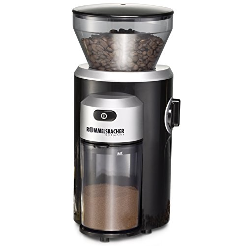 ROMMELSBACHER Kaffeemühle EKM 300 - Kegelmahlwerk aus Edelstahl, Mahlgrad in 12 Stufen, Mengendosierung bis...
