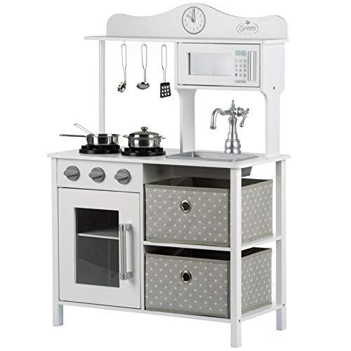 Kinderplay Kinderküche Spielküche Holz - Kinderküche aus Holz, Weiß-Grau, für Kinder Küche, Spielzeug...