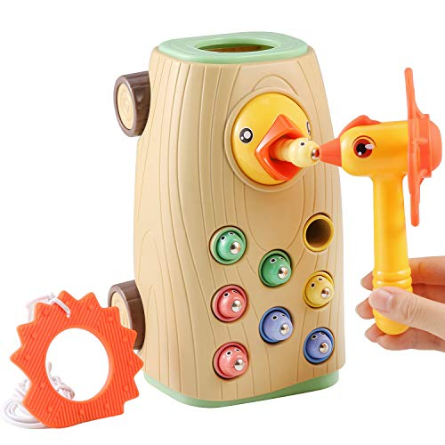 BBLIKE Montessori Spielzeug Magnetisches Kinderspiel, 3-IN-1 Ziehen Entlang Bus Spielzeug Wurm Fangen Spiel...