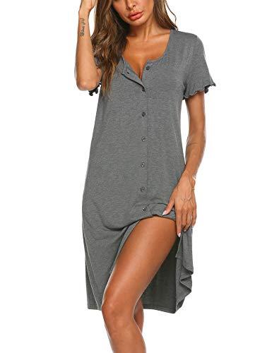 Ekouaer Damen Geburt Stillnachthemd Schwangerschaft Schlafanzug Pyjama Grau M
