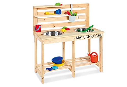 Pinolino Matschküche Paul, unbehandelt, vollmassives Holz, Durchlass für einen Gartenschlauch in der...