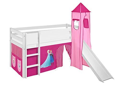 Lilokids Spielbett Jelle Eiskönigin, Hochbett mit Turm, Rutsche und Vorhang Kinderbett, Holz, rosa, 208 x 98...