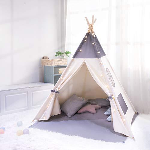 besrey Spielzelt Tipi Zelt für Kinder aus 100% Baumwolle + 6m Deko Lichterkette und graue Matte