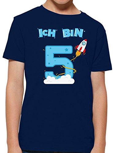 Shirtracer Ich bin Schon 5 Geburtstag Rakete Jungen T-Shirt (Navy, 5-6 Jahre 110-116 cm)