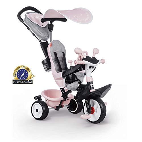 Smoby 741501 - Baby Driver Plus Rosa - 3-in-1 Kinder Dreirad, mitwachsendes Multifunktionsfahrzeug mit premium...