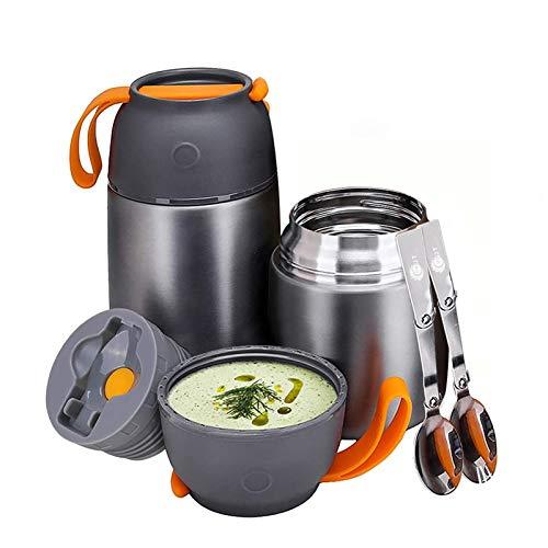 YGJT Thermobehälter im Set(500ml & 700ml) mit faltbaren Löffel und Gabel für Kinder/Erwachsene, Edelstahl...