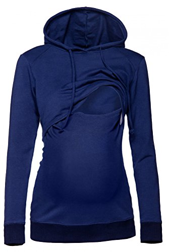 Happy Mama. Damen Kapuzenpullover Stillzeit Top Zweilagiges Sweatshirt. 272p (Marine, 38, M)