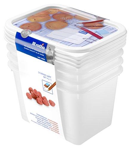 Rotho Domino 4er-Set Vorratsdosen , Kunststoff (BPA-frei), weiss mit beschreibbarem Deckel, 4 x 1 Liter (15,7...