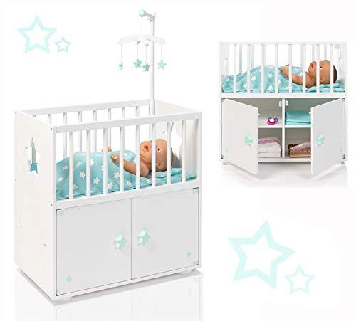 SUN Puppenbett mit Schrank und Mobile Sternchen Puppenschrank Gitterbett (Weiß-Mint)