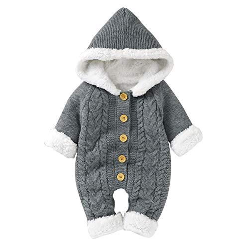 Hinzonek Baby Gestrickt Fleece Gefüttert Schneeanzug Baby Jungen Mädchen Winter Warme Strampler Overall...