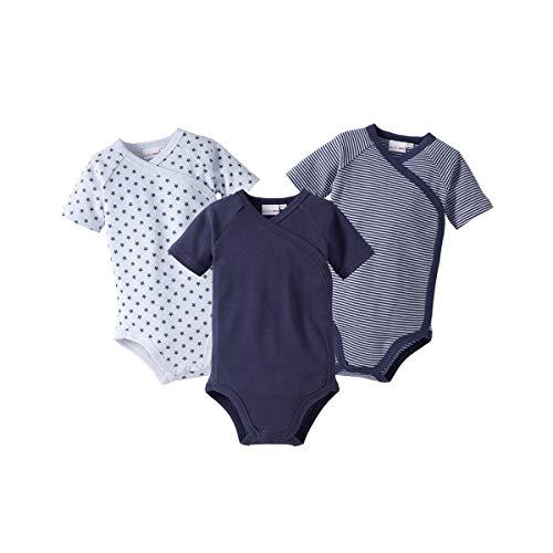 Bornino Wickelbodys Kurzarm Mouse & Elephant (3er-Pack) - Baby-Bodys mit Druckknöpfen aus Reiner Baumwolle -...