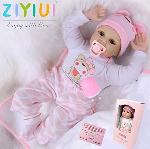 ZIYIUI 22 Zoll 55cm Lebensecht Reborn Babypuppe Mädchen Weiches Silikon Vinyl Neugeborene Reborn Puppen...