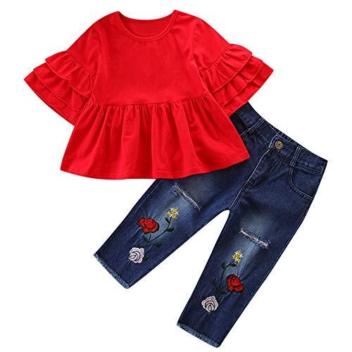 Proumy ◕ˇ∀ˇ◕Baby Kleidung Set, Baby Body Kleinkind Neugeborenes Baby Mädchen Kinder Langarm Rüschen...