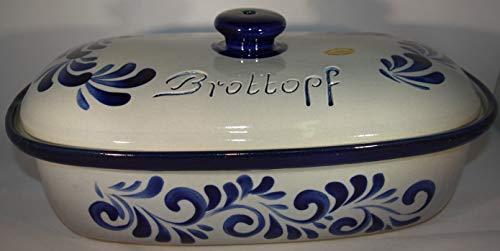 Töpferei Seifert Brottopf grau blau Gross 40 cm | Brotkasten | Brotbox | Brotdose | Brotbehälter | Steinzeug...